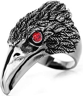 Flongo Men's Tribal Stainless Steel Red Eye Biker Eagle Hawk Band Ring, Men's Biker Hawk Super Fly Ring, Men Women Wedddin...