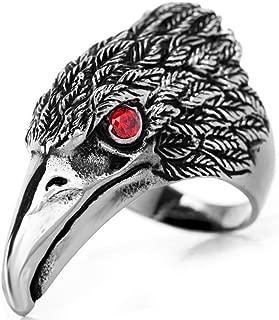 Men's Tribal Stainless Steel Red Eye Biker Eagle Hawk Band Ring, Men's Biker Hawk Super Fly Ring, Men Women Weddding Engagement Ring