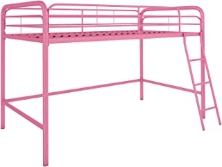 DHP Junior Loft Bed Frame With Ladder, Pink