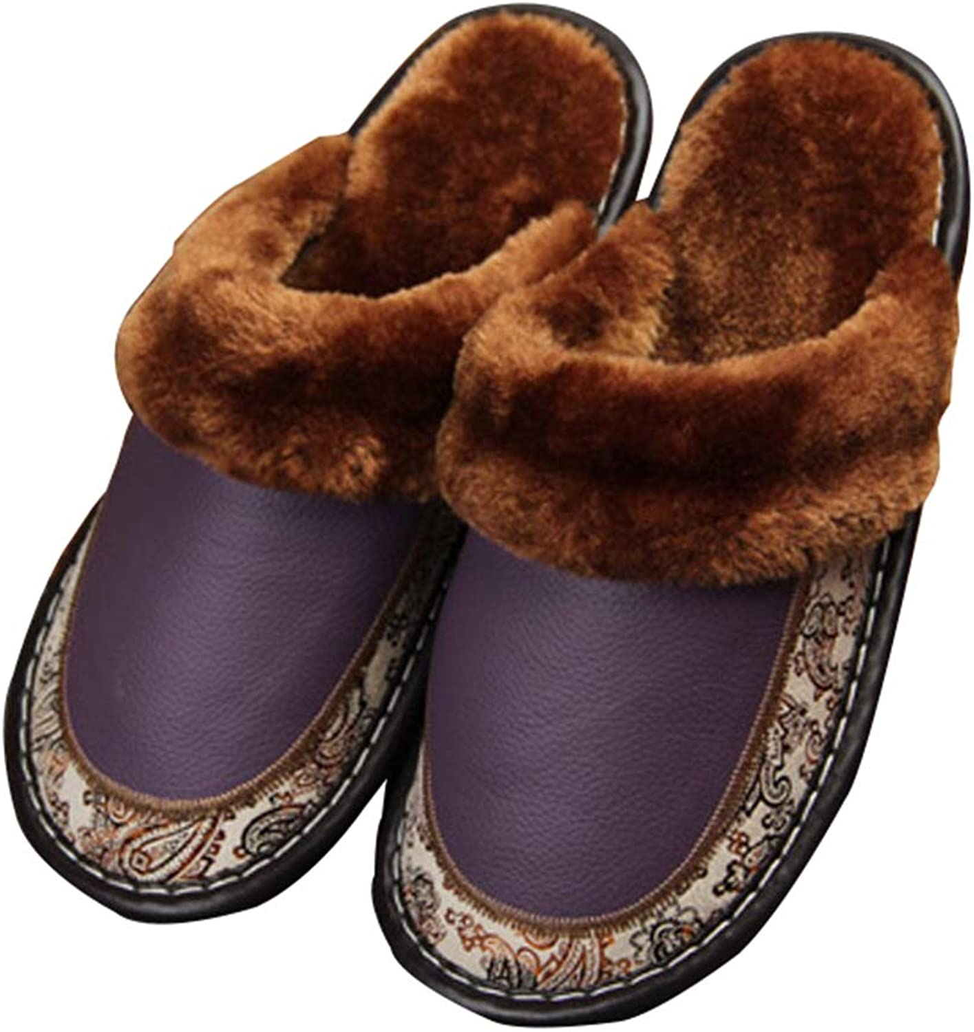 Unisex House Slippers Genuine Leather Winter Warm Fuzzy Lined Scuff Slippers