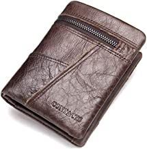 Men Leather Wallet Men's Genuine Leather Credit Card & Banknote Pocket 3 Fold Wallet With Zipper Safe Coin Pocket (Color : Brown, Size : Free size)