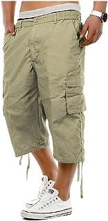 Andopa Men Multi Pockets Summer Casual Leisure 3/4 Pants Short Pants