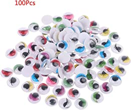 Yeahii 100pcs Mixed Color Self Adhesive Eyes with Eyelashes for Doll Bear Stuffed Toy DIY Craft 6mm/7mm/8mm/10mm/12mm/15mm/18mm/20mm
