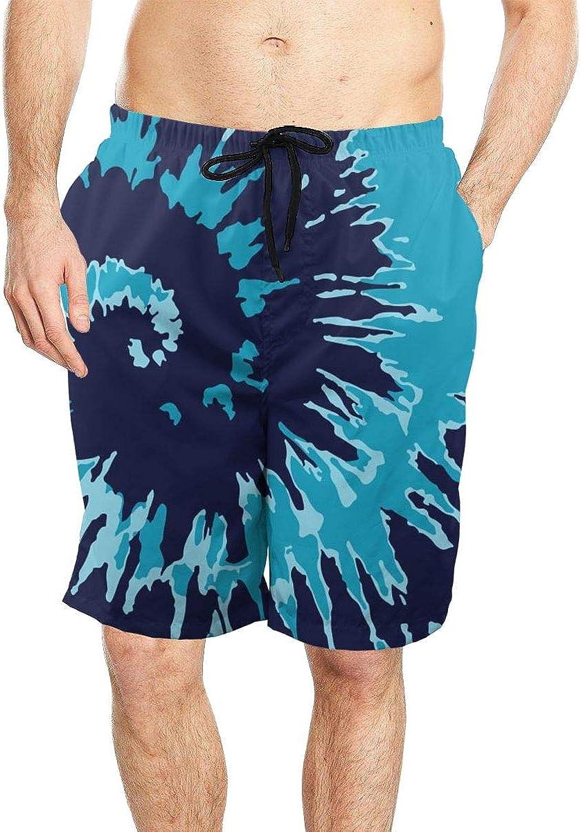 DASMUS Navy Blue Tie Dye Background Men Drawstring Beach Board Shorts Swim Trunks with Mesh Lining