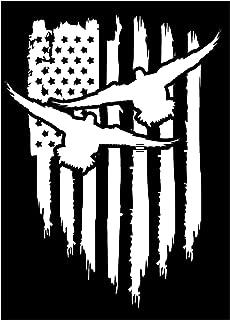 Firehouse Graphics American Flag Duck Drake Hunting Decoy Teal Vinyl die Cut Sticker Decal Pledge of Allegiance