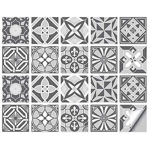 Pegatinas de azulejos de mosaico, 20 unidades, autoadhesivas, azulejos de pared, impermeable, papel para cuarto de baño y cocina (15 x 15 cm)