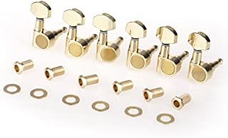 Musiclily Pro 6 in Line Sealed Dual Pin Guitar Tuners Tuning Pegs Keys Machine Heads Set for Squier Strat, Gold