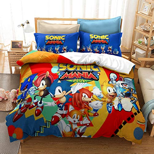 Juego de cama Sonic 3D Sonic para niños (incluye funda de almohada), microfibra ultraligera, suave y cómoda, apto para ropa de cama de anime para niños y niñas (Snk3, individual, 140 x 210 cm)