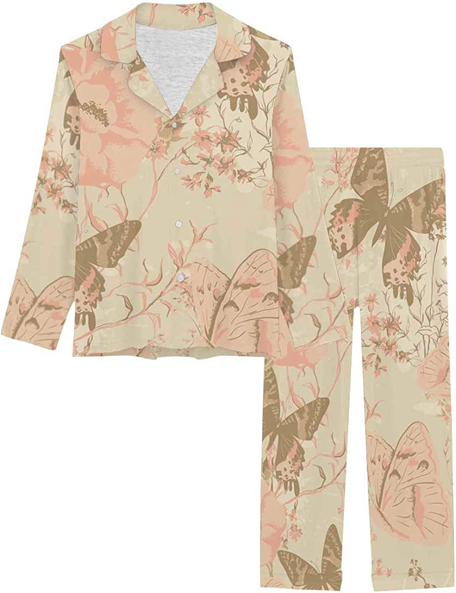 InterestPrint Soft Nightwear Loungewear with Long Pants Pajamas Set Ndless Texture with Flowers