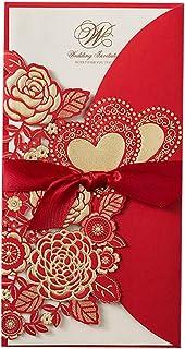 Kentop - 50 tarjetas de invitación para bodas o cumpleaños con texto en alemán 21.5x11.3cm rojo