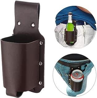 YunZyun Bottle Waist Bag Leather Beer Bag Belt Mountaineering Outdoor Beer Bottle Holster Bottle Waist Bag,Packing Beer, Drinks, Hiking, Travel, Portable Pockets. (Brown)