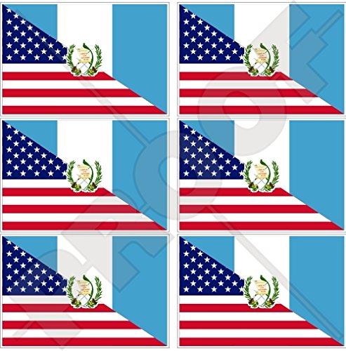 Lot de 6 mini autocollants en vinyle Motif drapeau américain et guatémaltèque 40 mm