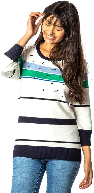 Roman Originals Super beauty product restock quality top Women Nautical Stripe Length Raleigh Mall 3 Jumper 4 Sleeve