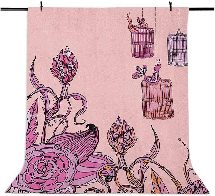 8x12 FT Vinyl Photography Background Backdrops,Romantic Floral Composition with Bird Cage Artistic Spring Themed Ornament Background for Graduation Prom Dance Decor Photo Booth Studio Prop Banner