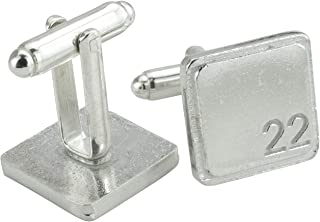 Square Cufflinks with '22' Engraved - 22nd Anniversary