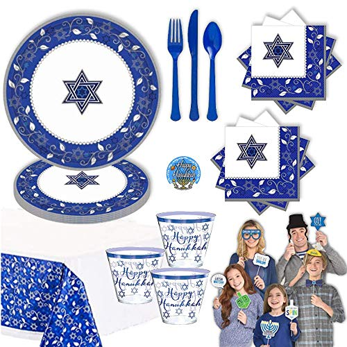 Blue and Silver Hanukkah Party Supplies and Decoration Pack For 16 With Star of David Plates, Tumbler Cups, Tablecover, Napkins, Photo Props, Cutlery and Hanukkah Pin, by Another Dream