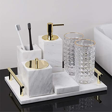 Amazon Com Marble Bathroom Accessory Set Of 7 Piece Soap Dispenser Toothbrush Holder Tumbler Soap Dish Cotton Swab Box Tray High Class Home Decor Gift Home Kitchen