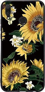 Yoedge Case for Huawei Y9 2019, Black Phone Case with Pattern [Ultra Slim] Shockproof Flexible Soft Gel TPU Silicone Back Cover Bumper Skin forHuawei Y9 2019 (Sunflower)