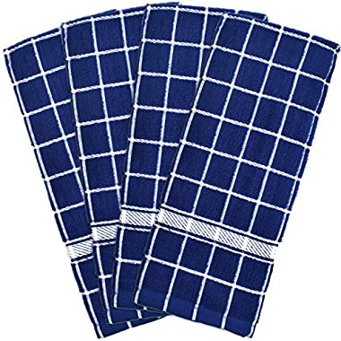 DII Cotton Terry Windowpane Dish Towels, 16 x 26 Set of 4, Machine Washable and Ultra Absorbent Kitchen Bar Towels-Nautical Blue Check