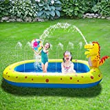 DAHAI Dinosaur Inflatable Pool, 2021 Upgraded Family Blow Up Pool, Water Park PVC Portable Outdoor Backyard Fountain Pool for Toddlers, Kids & Adults (Yellow, One Size)