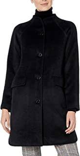 Lark & Ro Women's Coat Deep Black US Size 10 Funnel Neck Split Hem