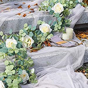 1 pack 6ft artificial eucalyptus garland with flowers, rose garland vine with willow leaves, artificial wedding arch white flower garland for wedding party table decoration (champagne) silk flower arrangements