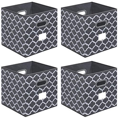 homyfort Cubos de Almacenaje 4 pcs, Cajas Plegables de Tela con Doble Mango de Plástico, para Casa, Oficina, 33 x 33 x 33 cm, Gris con Patrón de Linterna, XDBL04PL