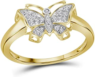 Dazzlingrock Collection 10kt Yellow Gold Womens Round Diamond Butterfly Bug Cluster Ring 1/12 ctw