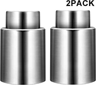 Wine Stoppers with Vacuum, Stainless Steel Wine Saver Pump with Silicone, Durable Vacuum Bottle Stoppers, Air Tight Wine Sealer (Set of 2)