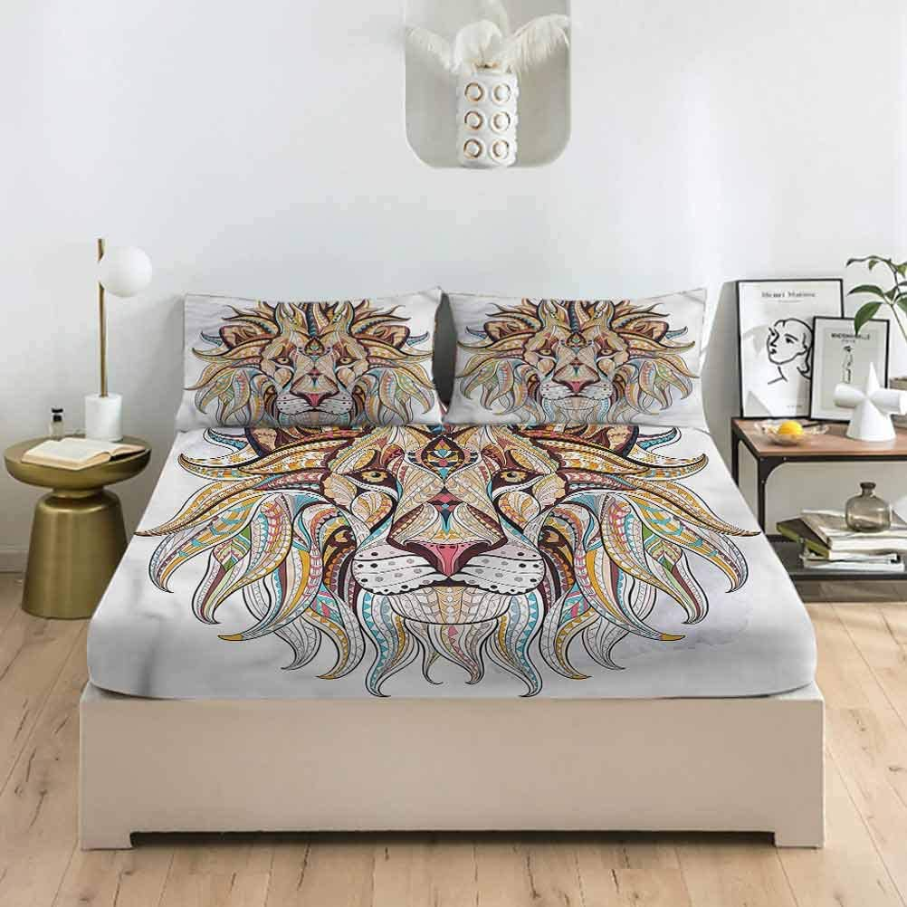 LCGGDB Lion Queen Size Bed Ranking TOP19 Fitted Doodle Sheet Price reduction D Style Set Giant