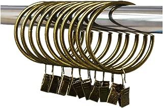 Leoyoubei Metal Drapery Curtain Rings with Clips,Decorative Drapery Curtain Clip Rings, Premium Iron Metal Material 30-Pieces-Interior Diameter (2.5