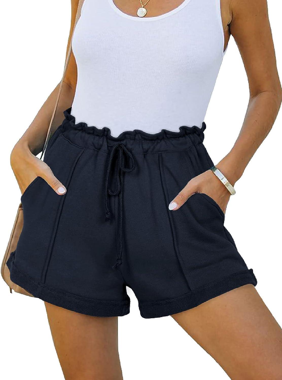 NIMIN Workout Shorts for Women Cotton Pajama Lounge Shorts Drawstring Athletic Gym Running Yoga Sweat Shorts with Pockets