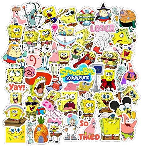 50 Pcs Cartoon Vinyl Spongebob Stickers for Water Bottles Motorcycle Notebook Laptop Luggage Bicycle Skateboard, Best DIY Gift for Kids Teens