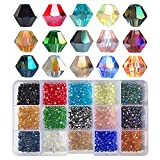 Chengmu 4mm Bicone Glass Beads for Jewelry Making 1500pcs AB Colour Faceted Shape Colourful Crystal Spacer Beads Assortments Supplies for Bracelets Necklaces with Elastic Cord Storage Box
