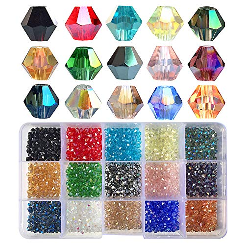 Chengmu 4mm 1500pcs Bicone Glass Beads for Jewelry Making AB Colour Faceted Shape Colourful Crystal Spacer Beads Assortments Supplies for Bracelets Necklaces with Elastic Cord Storage Box