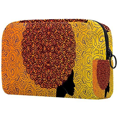 Estuche cosméticos Viaje portátil Organizador Bolsas Maquillaje Pendientes Afro de Pelo africanos Cremallera Bolsillo Grande Almacenamiento