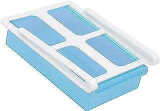 Boîte de rangement pour réfrigérateur au design unique avec tiroir coulissant pour réfrigérateur et cuisine Bleu