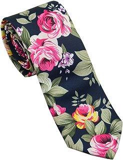 Men's Printed Floral Cotton Necktie - Casual Fashion Flower Slim Neck Ties