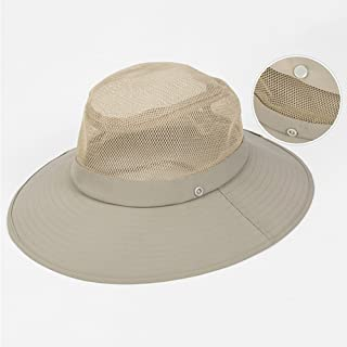 YSNRH Hat Summer Men's Sun Hat Outdoor Fishing Climbing UV Protection Fisherman's Hat with Chin Band with Flap Neck Cover Camping,Outdoor,Hiking,Summer (Color : Beige)