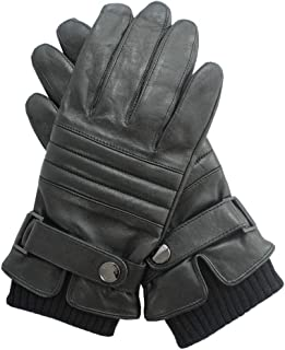 Hugo Boss Guantes de piel para hombre con forro, Hetlon-TT, color negro, talla 8,5
