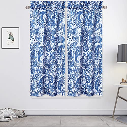CAROMIO Navy Blue Paisley Floral Printed Tier Curtains for Kitchen, Oxford Cloth Short Window Curtains Rod Pocket Valances Panel Drapes for Cafe, 27'X45', 1 Pair