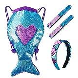 Paillettes Borsa Magia Mermaid Reversibili Zaino con Coulisse Glitter Braccialetti Slap e Fascia per Bambine Ragazze Teens