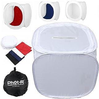 Phot-R 50x 50x 50cm Photo Studio luz Cube Tent Soft Box para Estudio De Fotografía Incluye 4Fondos de Color Color Negro Azul Rojo y Blanco + Funda de Transporte