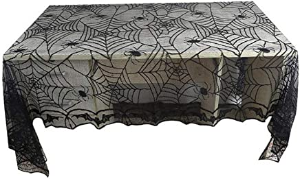 BESTONZON 48 x 96 Inch Halloween Lace Tablecloth Bat Spider Web for Halloween Party Decor
