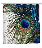 花柄 鳥 幸運な孔雀の羽 インテリア浴室の窓の装飾のための生地のホックが付いているポリエステル防水シャワー・カーテン60X72in