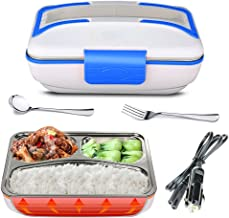 YOUDirect Electric Heating Lunch Box - Portable Bento Meal Heater Car Food Warmer Stainless Steel Plug Heating Food Container Leak-Resistant Reusable Electronic Food Boxes for Car Use (Blue.)