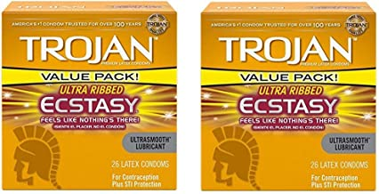 Trojan Condoms Ultra Ribbed Ecstasy Lubricated