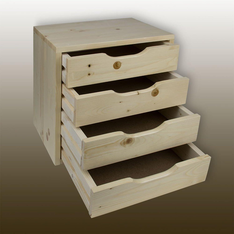 Schubladenbox - Holzbox - Nachttisch mit 4 Schubladen Schubladen Schubladen Vollholz Fichte B00WYU007W   Erste Gruppe von Kunden  ee06e6