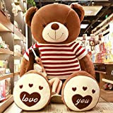 AYQX Almohada de Juguete de Peluche Panda Gigante Lindo Oso de Peluche muñeca niña Abrazo Oso Almohada muñeca niño Regalo marrón suéter Rojo y Blanco ángulo Recto 1,4 m