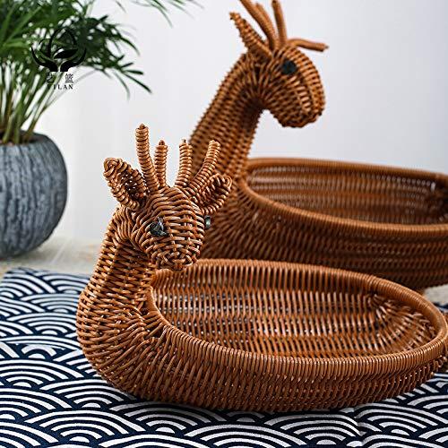 Creativo de dibujos animados de ratán con forma de animal, canasta de frutas, sala de estar, bocadillos, acabado de almacenamiento, tazón de frutas tejido, canasta de frutas 32 * 23 * 30 marrón